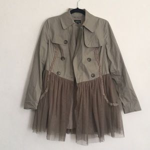 🆕 Topshop khaki double breasted coat with Tulle 6